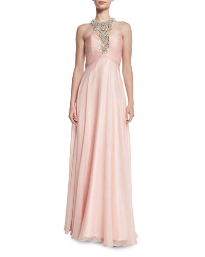 Glitter Chiffon Gown With Embellished Neckline, Pink