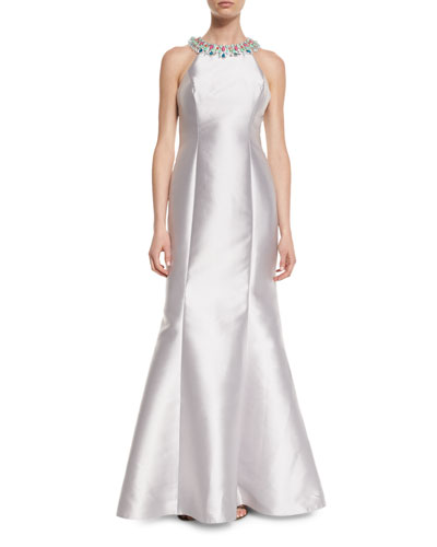 Embellished-Neck Gown With Crisscross Back, Silver