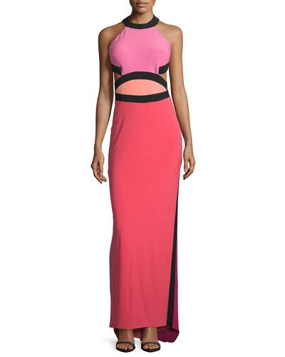 Sleeveless Colorblock Cutout Gown, Peony/Multi