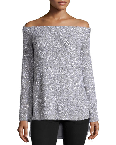 Sequined Off-the-Shoulder Top, Silver
