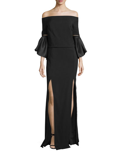 Off-the-Shoulder Bell-Sleeve Gown, Black