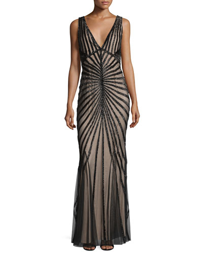 Linear-Beaded Sleeveless V-Neck Gown, Black