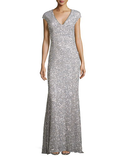 Fleur Beaded Cap-Sleeve V-Neck Gown, Silver