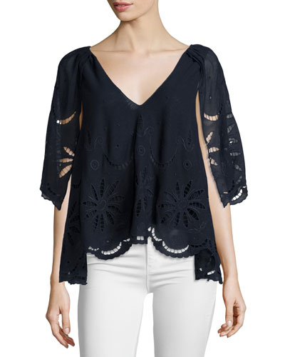 The Caped Flutter Lace Top, Midnight