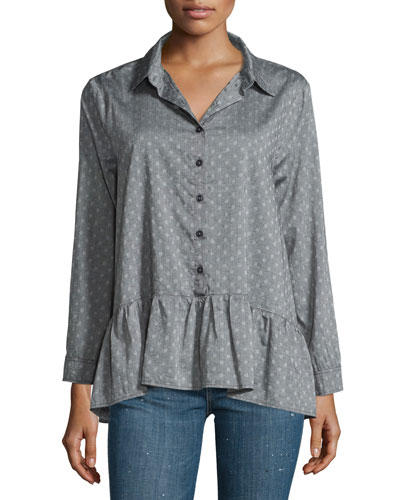 The Drop Ruffle Polka-Dot Oxford Shirt