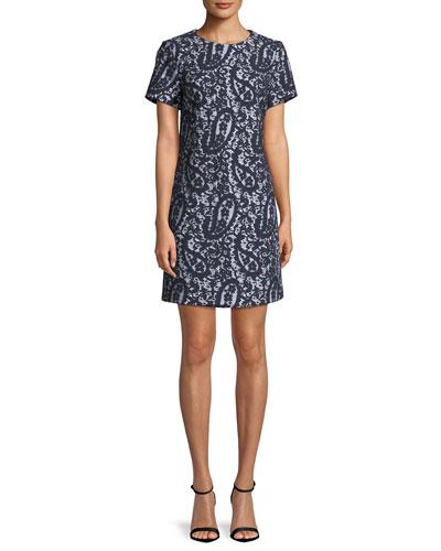 Mod Short-Sleeve Lace-Overlay T-Shirt Dress, White