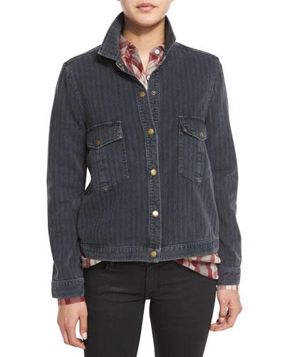 The Striped Denim Shirt Jacket, Black