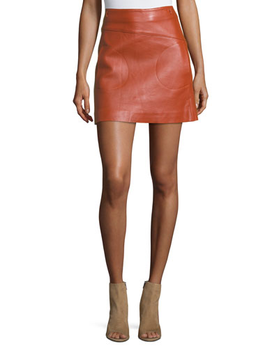 Messy Leather A-Line Skirt