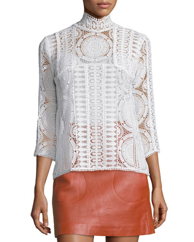 Elia Lace 3/4-Sleeve Top, White