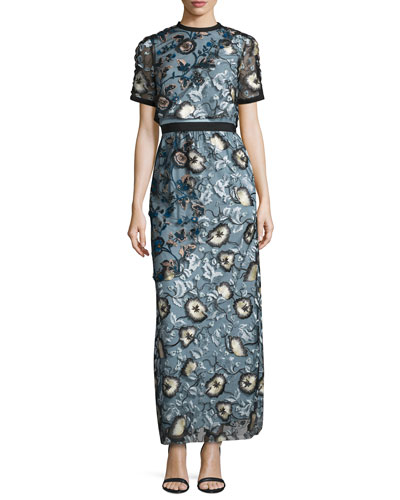 Florentine Floral Embroidered Maxi Dress
