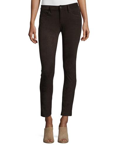 The Icon Faux-Suede Ankle Jeans, Smokey Quartz