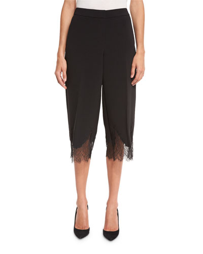 Lace-Trimmed Gaucho Pants, Black