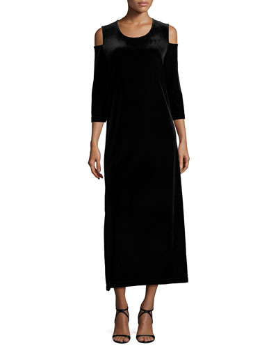 3/4-Sleeve Cold-Shoulder Velvet Maxi Dress, Black, Petite