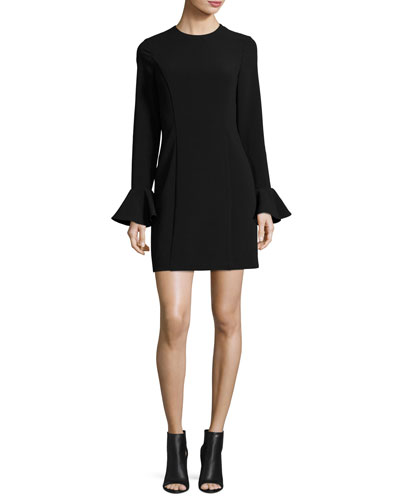 Long Ruffle-Sleeve Crepe Sheath Dress, Black