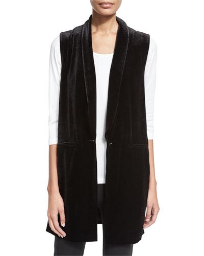 Velvet Long Vest, Black