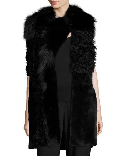 Cyrene Shearling & Fox Fur Vest, Black