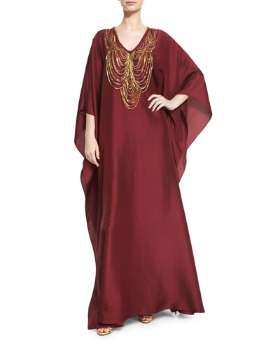 Necklace-Beaded V-Neck Caftan Gown, Bordeaux