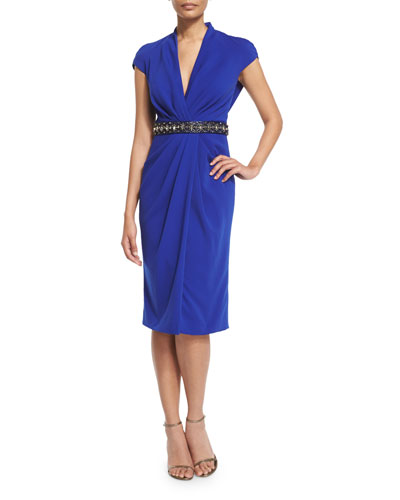Beaded-Waist Draped-Front Cocktail Dress, Sapphire