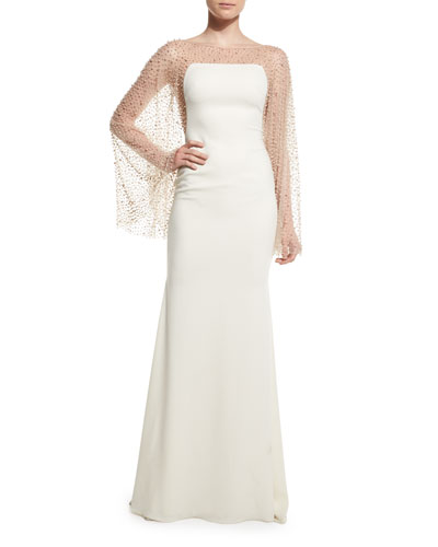 Pearly Batwing-Sleeve Mermaid Gown, Ivory