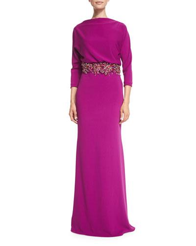3/4-Sleeve Beaded-Waist Blouson Gown, Orchid
