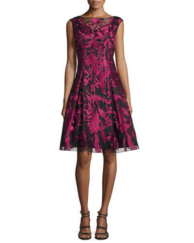 Embroidered Fit-and-Flare Cocktail Dress, Merlot/Black
