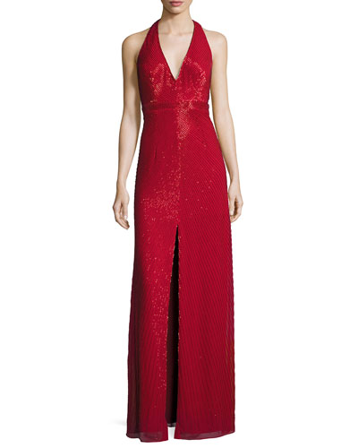 Sleeveless Beaded Column Gown, Red