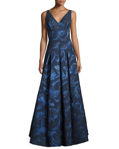 Sleeveless Pleated Metallic Brocade Gown, Navy/Multicolor