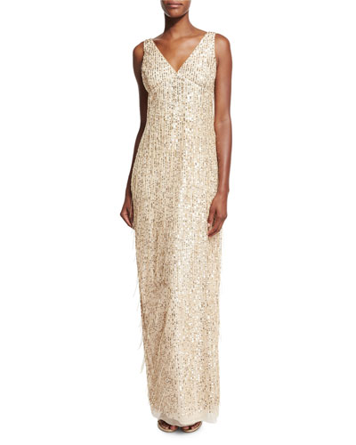 Sleeveless Sequin & Fringe Column Gown, Gold