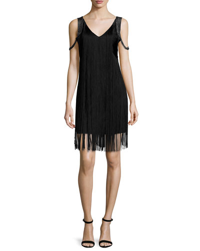 Sleeveless Fringe Flapper Dress, Black