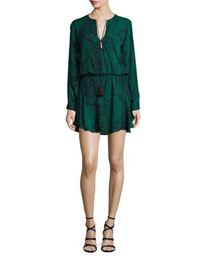 Pilar Snakeskin-Print Blouson Dress
