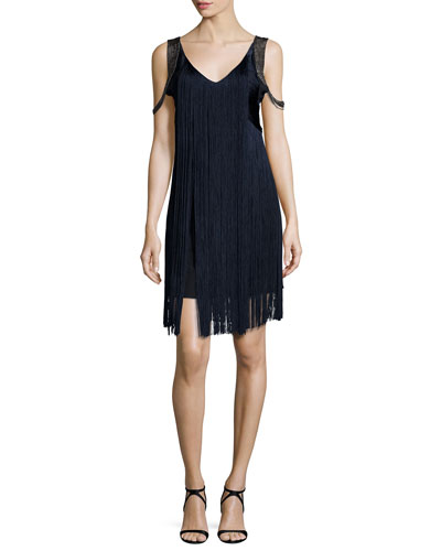 Sleeveless Fringe Flapper Dress, Dark Midnight