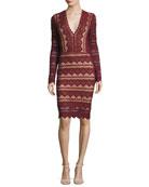 Sierra Lace V-Neck Long-Sleeve Dress, Garnet