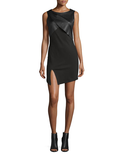 Sleeveless Dress With Draped Neck, Black