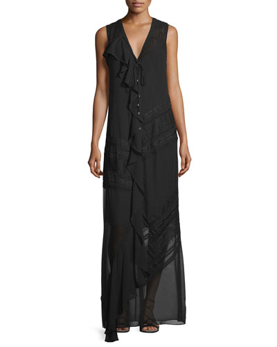 Woven Sleeveless Button-Front Dress, Black