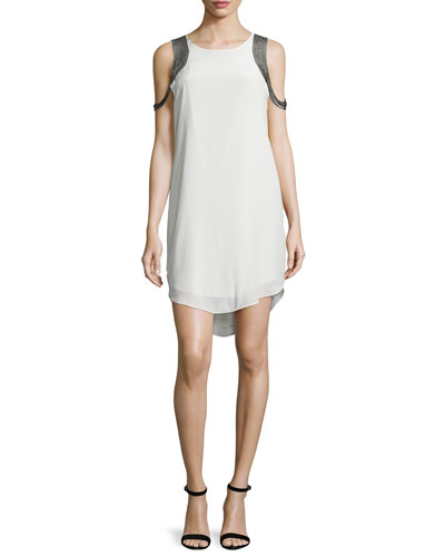 Shoulder-Chain Silk Mini Dress, Chai/Swan