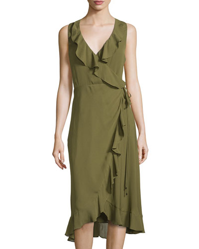 Sleeveless Wrap Dress, Fatigue