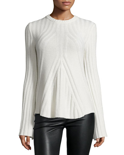 Ribbed Cashmere-Blend Bell-Sleeve Flared Sweater