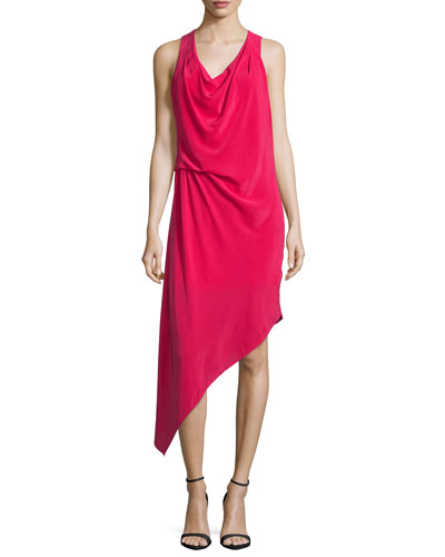 Sleeveless Asymmetric Hem Dress, Raspberry