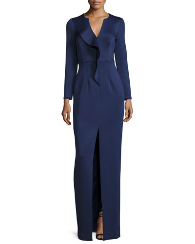 Long-Sleeve Ruffle Ponte Column Gown, Navy