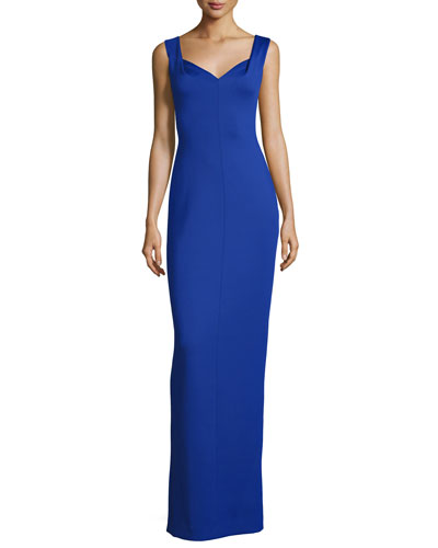 Sleeveless Ponte Sweetheart Gown, Sapphire