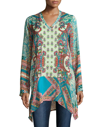 Vellamo V-Neck Georgette Tunic, Plus Size