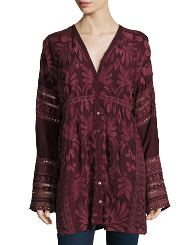 Cam Long-Sleeve Embroidered Tunic, Plus Size