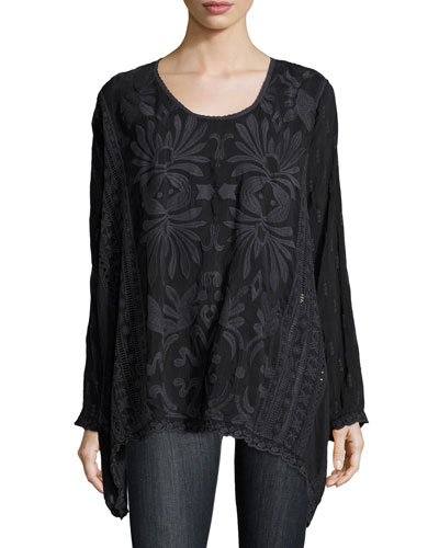 Cam Flowy Georgette Long Tunic, Sanded Black, Plus Size