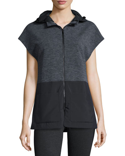Aria Hooded Terry/Tech Combo Vest, Charcoal/Black