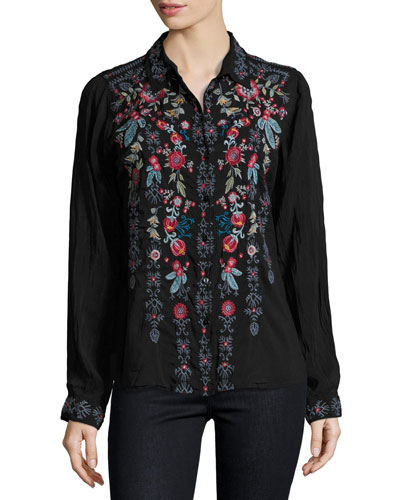 Yoshi Embroidered Button-Front Blouse, Black