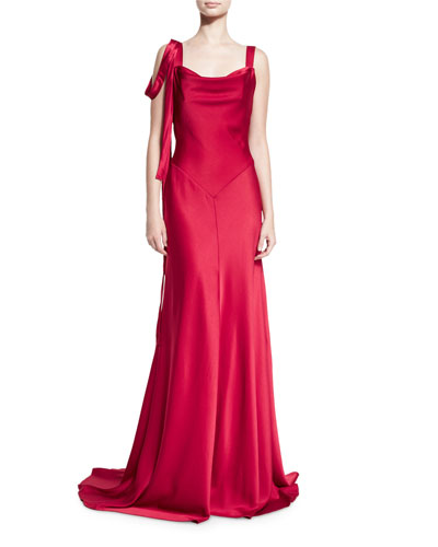 Sleeveless Satin Draped Gown, Red