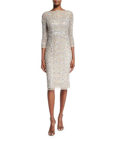 3/4-Sleeve Embellished Sheath Dress, Platinum