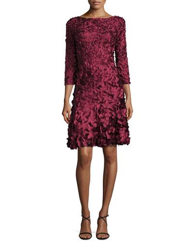 3/4-Sleeve Petal-Detail Cocktail Dress, Burgundy