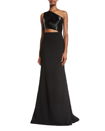 One-Shoulder Asymmetric Beaded Crepe Gown, Black