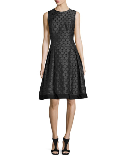 Sleeveless Pleated Jacquard Dress, Charcoal